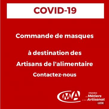 COVID-19 Commande de masques à destination des Artisans de l'alimentaire