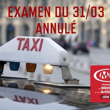 COVID19 Annulation examen taxi du 31/03