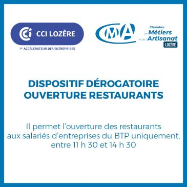 Dispositif dérogatoire ouverture restaurants